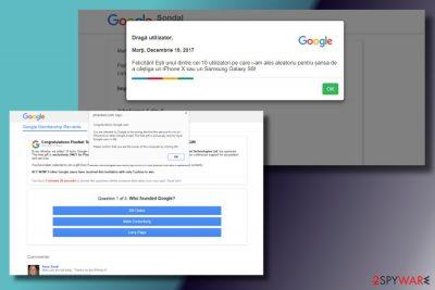 """Google Survey"" scam printscreen"