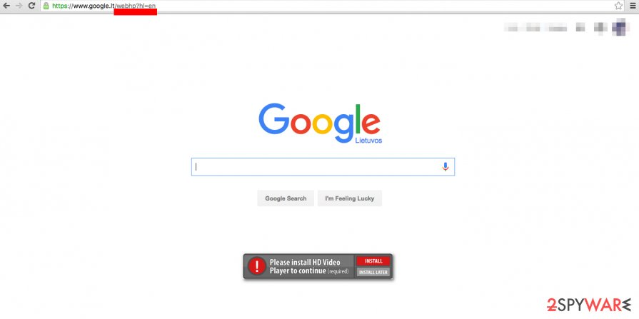 Google WebHP virus sets a fake search engine as homepage