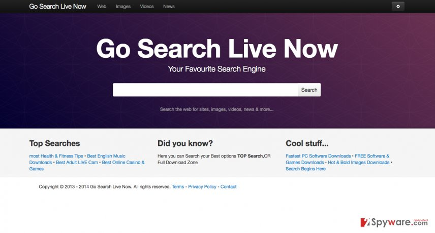 An illustration of the Gosearchlivenow.com hijacker website