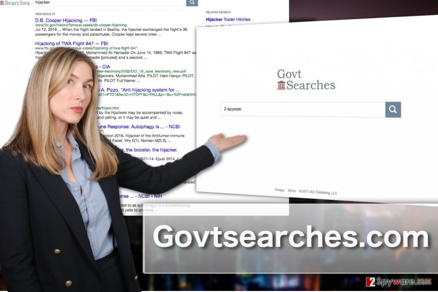 Illustration of Govtsearches.com hijacker homepage