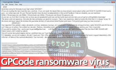 The ransom note left on desktop by GPCode ransomware