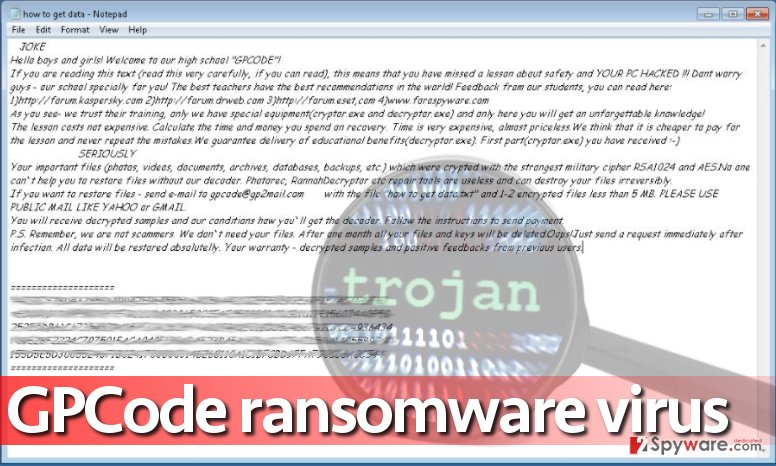 GPCode.ak ransomware says it can help the victim to recover files, although it just wants a ransom
