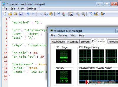 Screenshot of Gplyra Miner malware