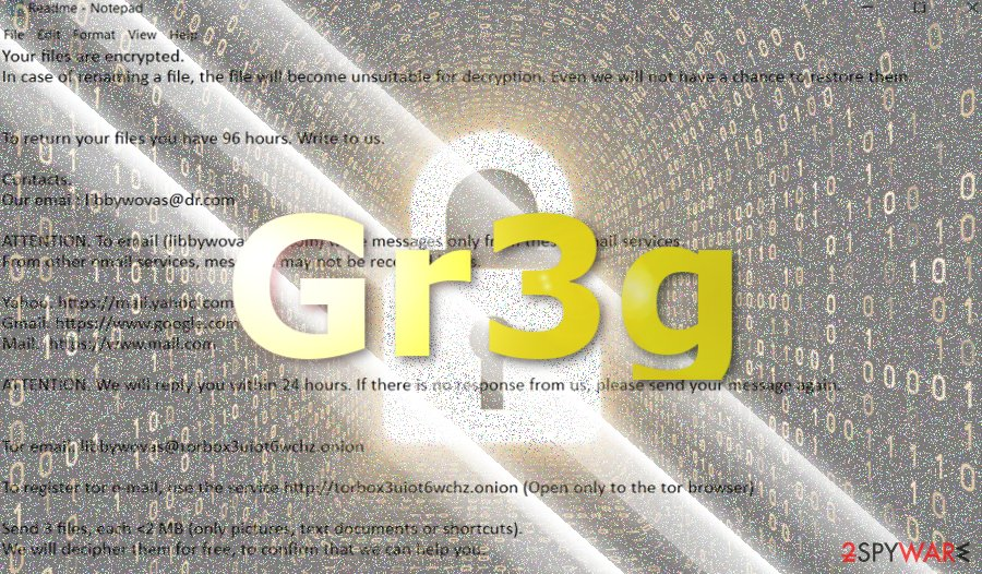 The picture displaying Gr3g virus note