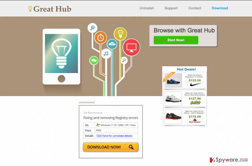 The picture showing Great Hub ads and the main page of this program