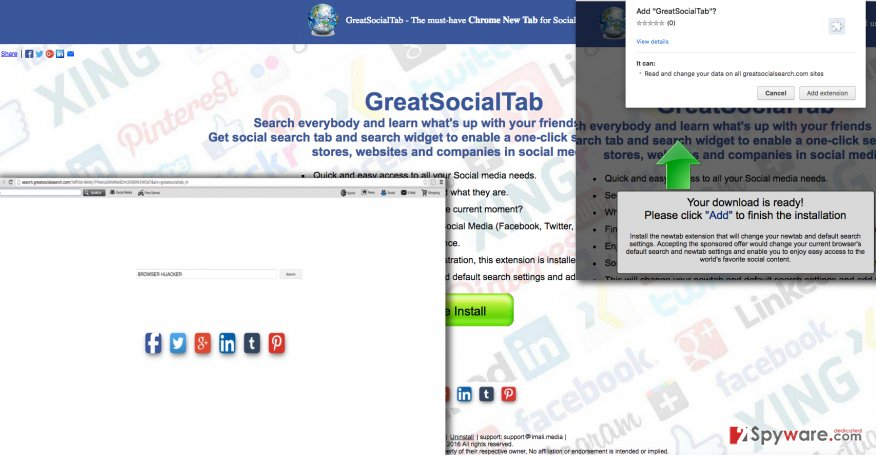Screenshot of GreatSocialTab virus and search engine it promotes