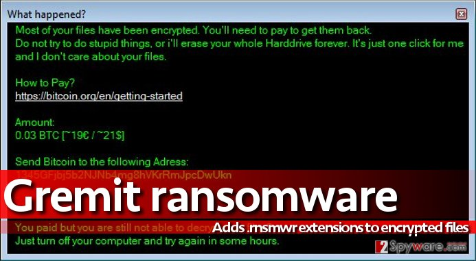 Image of Gremit virus' ransom note