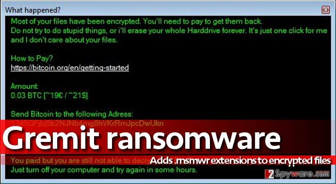 Image of Gremit virus' ransom note