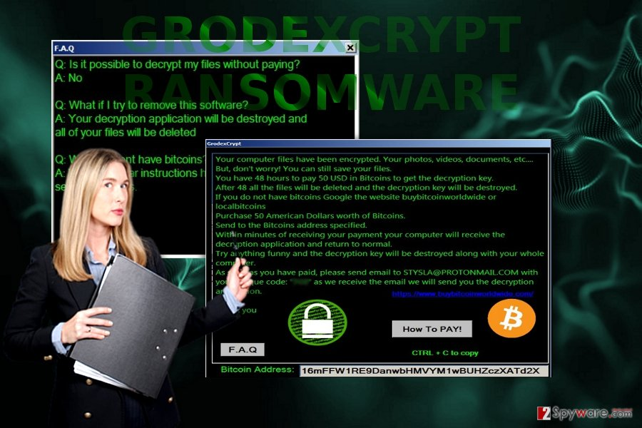 The screenshot of GrodexCrypt message