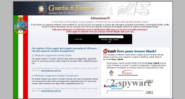 Guardia di Finanza Ukash virus snapshot