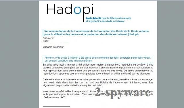 Hadopi virus snapshot