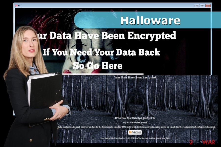 Image of Halloware ransomware virus attack