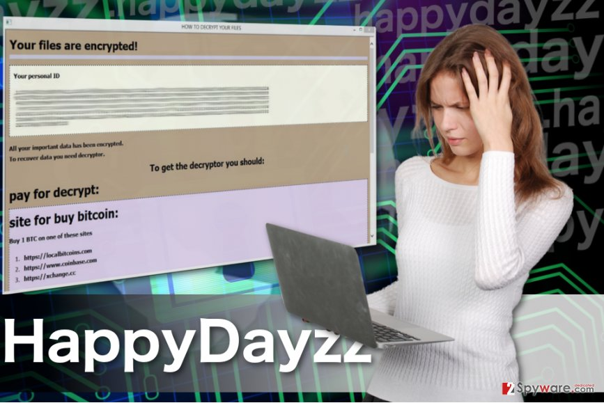 Image of the Happydayzz ransomware virus