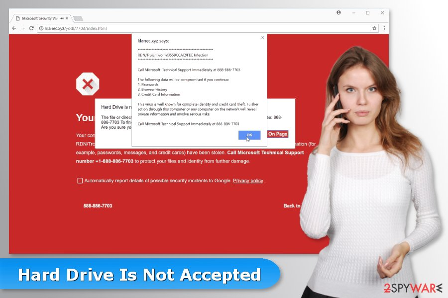 "The picture of ""Hard Drive Is Not Accepted"" tech support scam"