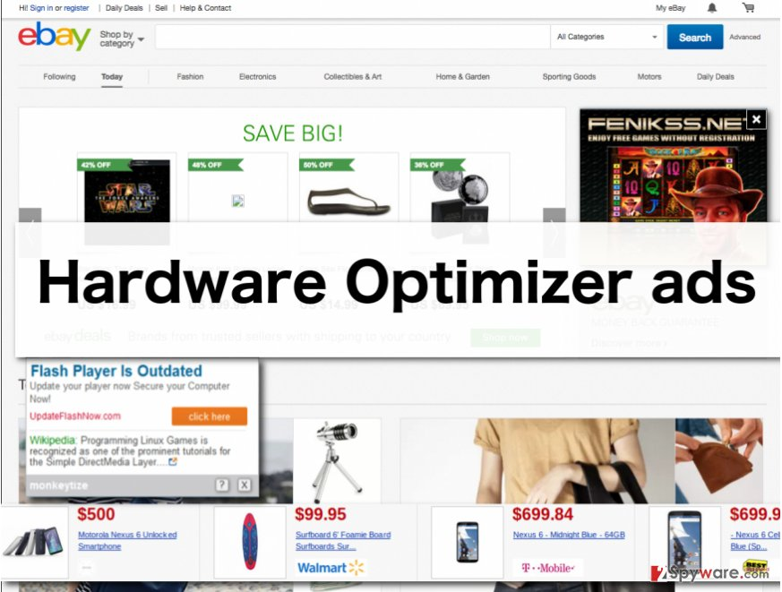 An illustration of Hardware Optimizer ads