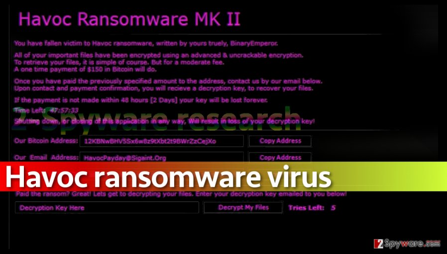 Picture of Havoc ransomware note