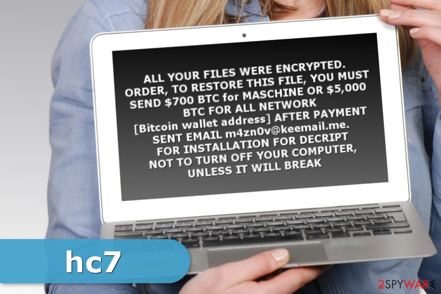Ransom note by hc7 ransomware