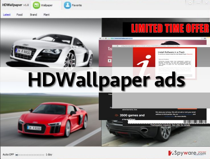 an image showing ads by HDWallpaper adware