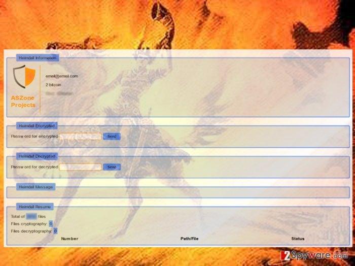 The screenshot of Heimdall virus