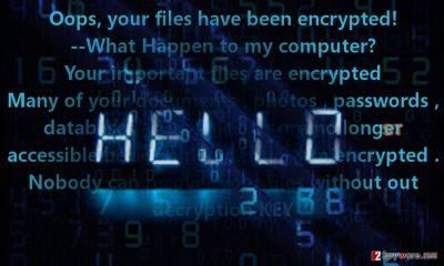 The image displaying Hello virus