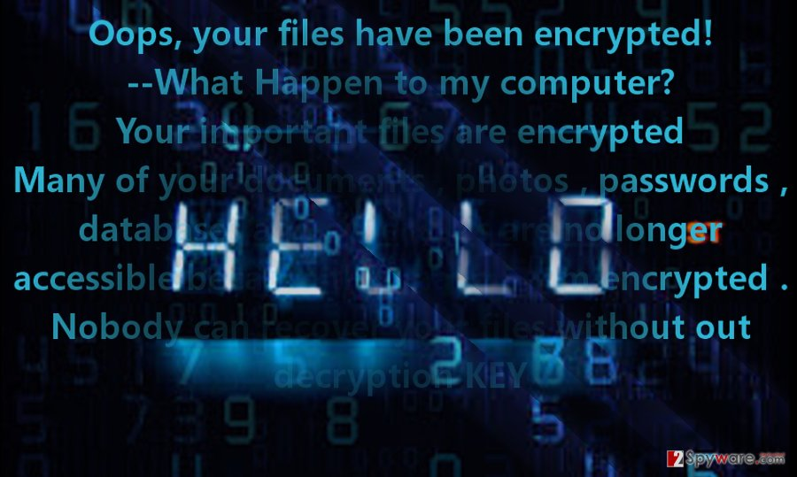 The image displaying Hello virus