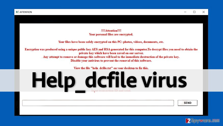 Help_dcfile ransomware shows a message