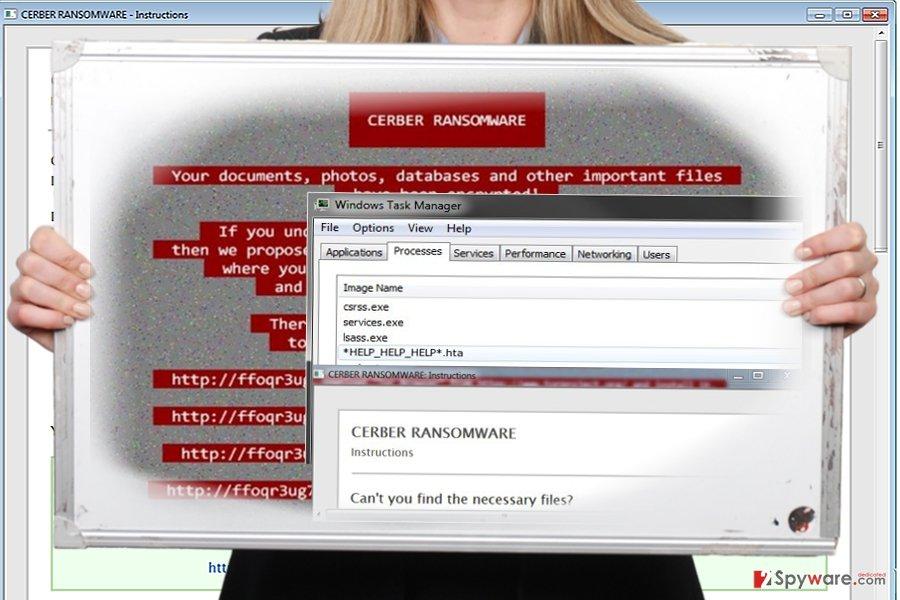 The screenshot of Help_help_help virus