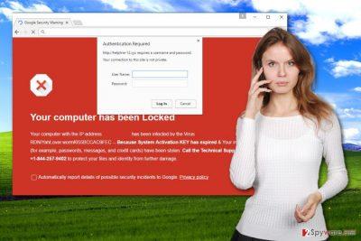The picture of Helpline-12.xyz Tech Support Scam virus
