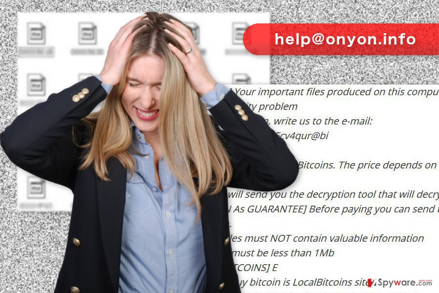 The picture of help@onyon.info ransomware virus