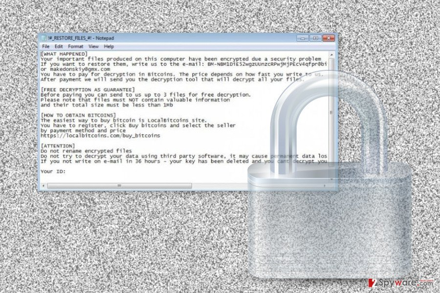 The image of help@onyon.info ransomware virus