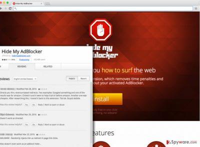 Screenshot of Hide My AdBlocker virus website and user reviews