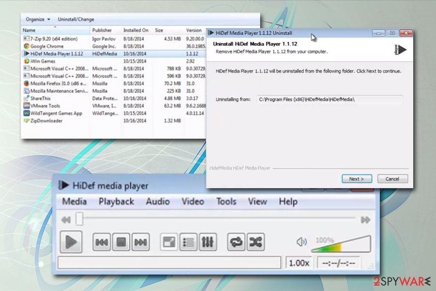 HiDef Media Player uninstall