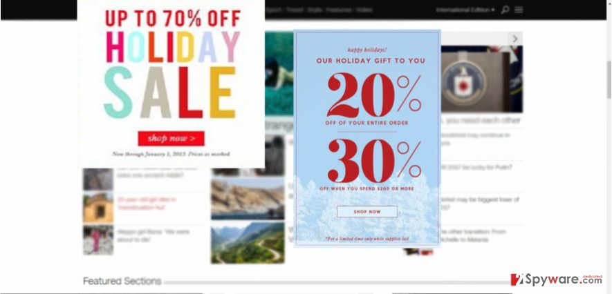The example of Holiday Sale