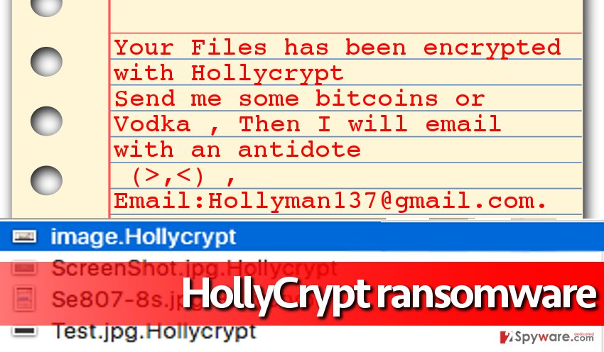 HollyCrypt virus encrypts files, adds particular file extensions to them