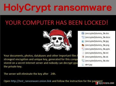 An illustration of the HolyCrypt ransomware virus