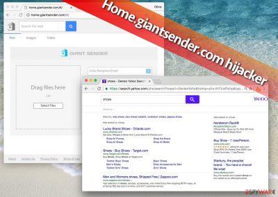 Image of Home.giantsender.com redirect virus