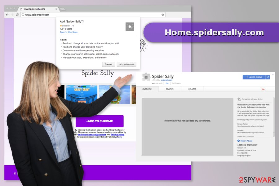 The picture of Home.spidersally.com virus