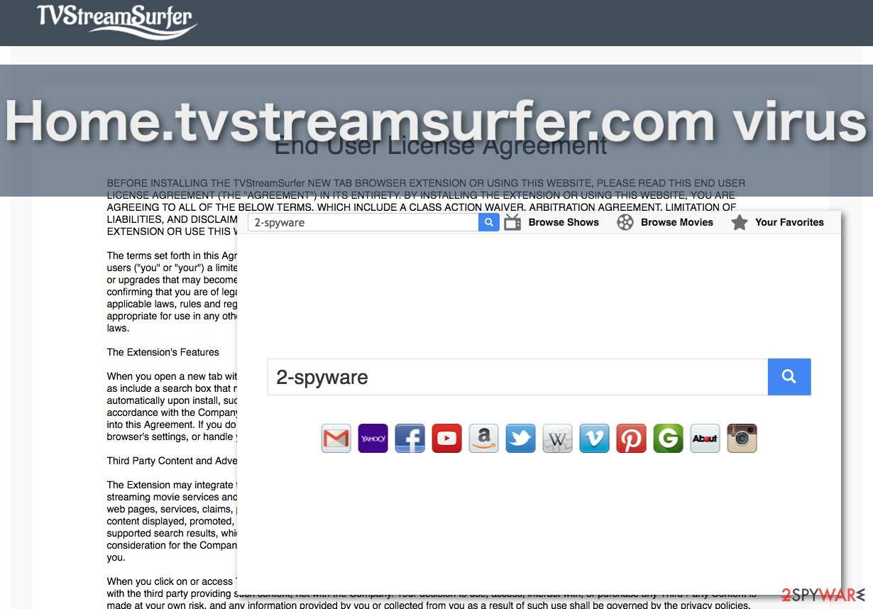 Image of the Home.tvstreamsurfer.com virus