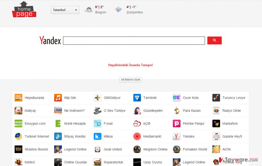 Homepage.com.tr hijack snapshot