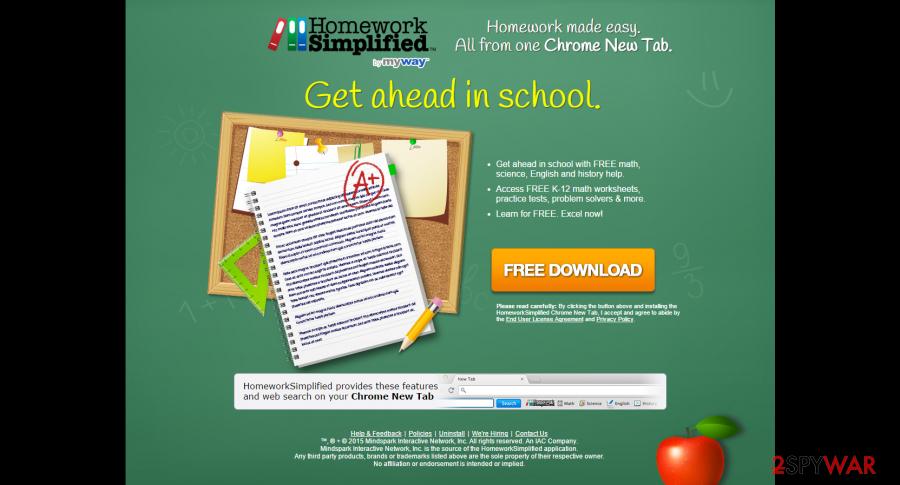 uninstall homework simplified toolbar