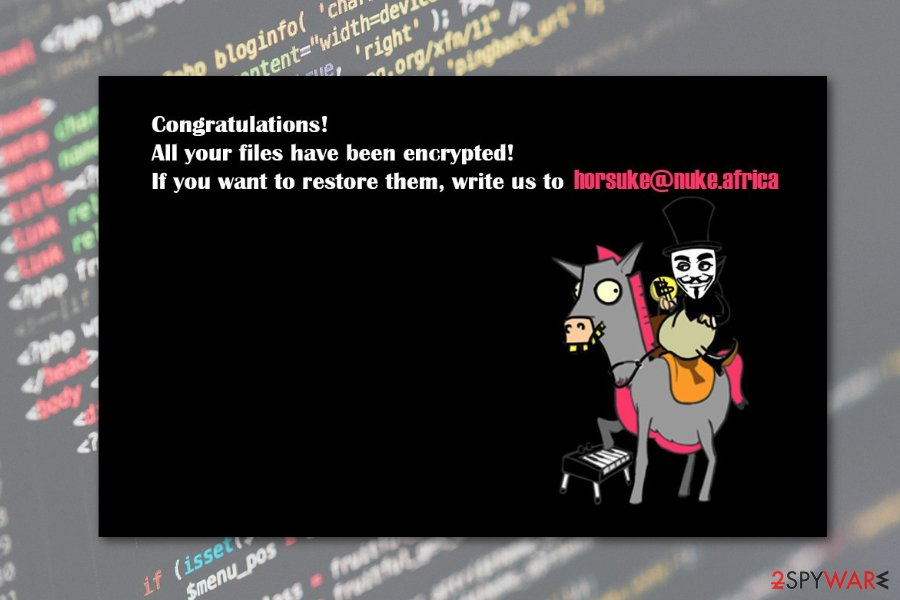 Horuske ransomware changes background