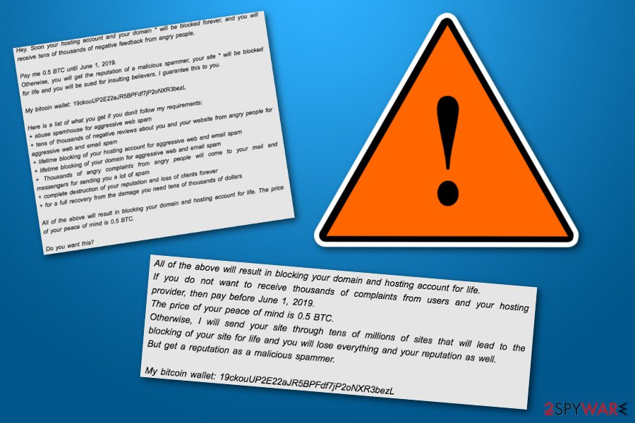 Hosting and domain will be blocked virus