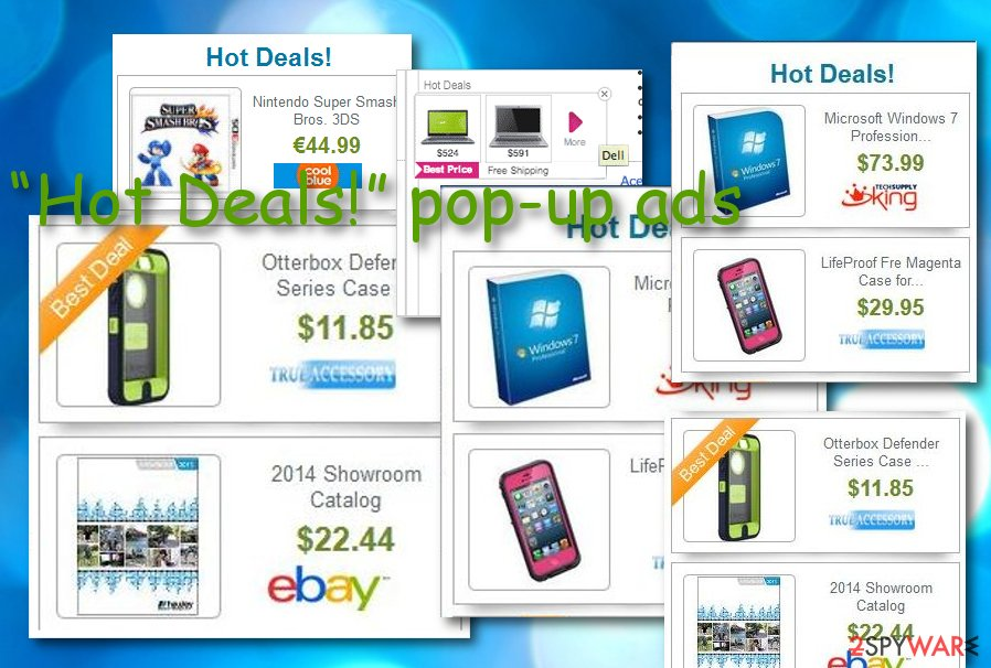 """Hot Deals!"" pop-up ads"