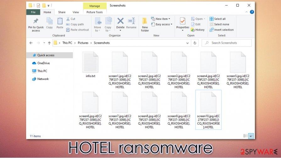 HOTEL virus encrypted files
