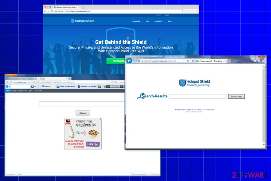The screenshot of the Hotspot Shield Toolbar