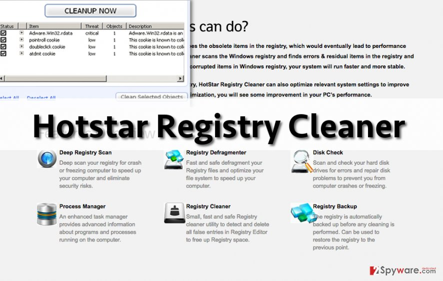 Screenshot of Hotstar Registry Cleaner homepage