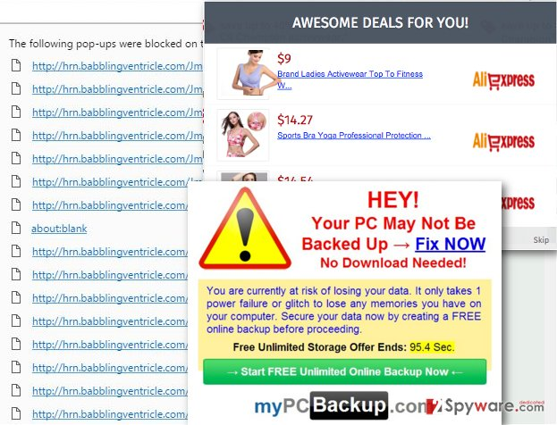 Hrn.babblingventricle.com virus displays ads