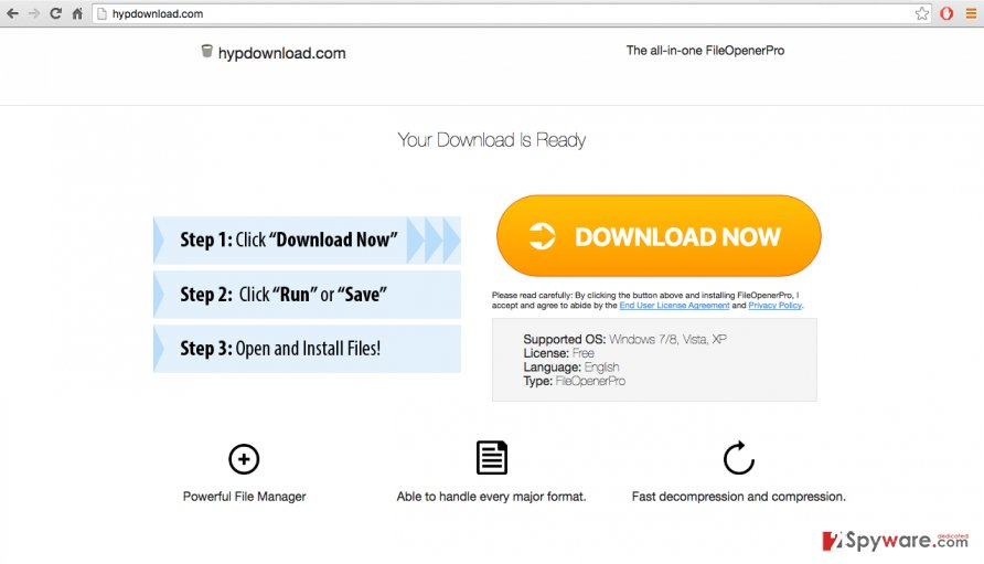A screenshot of the hypdownload.com download website
