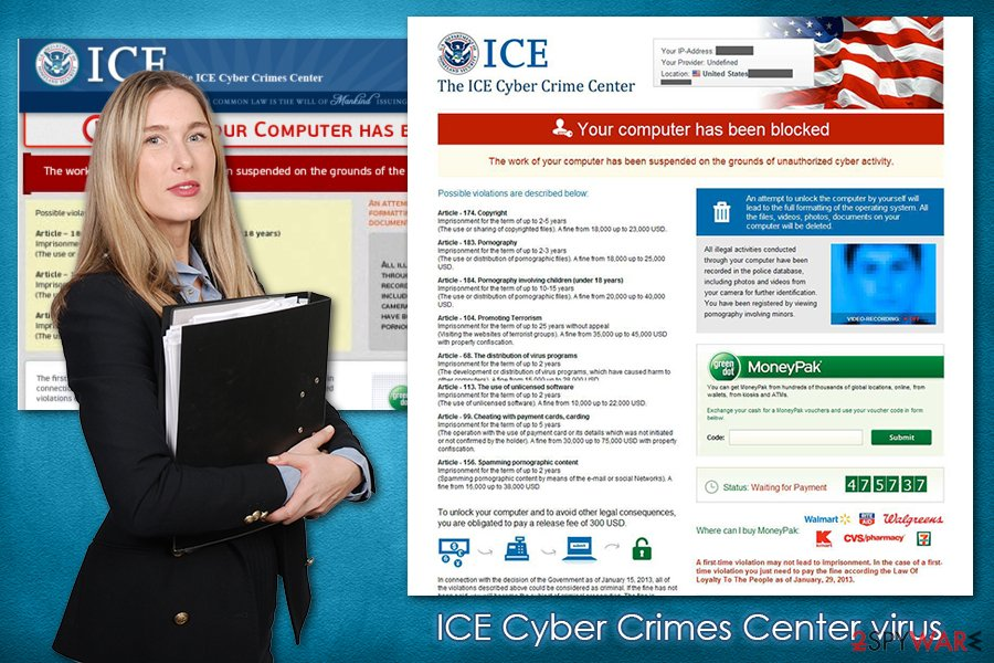 ICE Cyber Crimes Center virus lockscreen