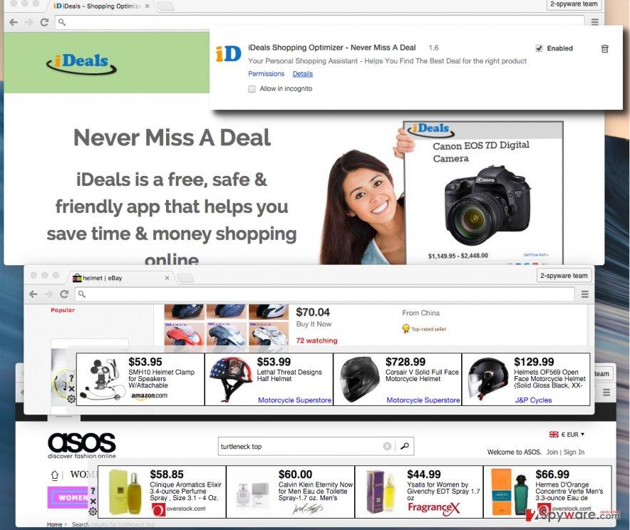 iDeals Shopping Optimizer adware screenshots